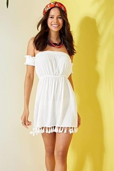 DeFacto Omuz Dekolteli Plaj Elbisesi Beyaz
